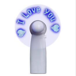 mensagem conduzida fãs Desconto Mini USB Handheld Ventilador Flexível LED piscando ventilador com Luz LED Desktop Ventilador de Presente de Arrefecimento com Personagens Mensagens Palavra