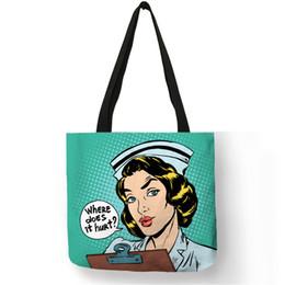 9eef36f1d Padrão único Saco de Ombro Bolso Mujer Enfermeira Pintura de Imagem Eco  Linho Prático Bolsa Para O Uso Diário de Viagem de Trabalho Senhoras Meninas