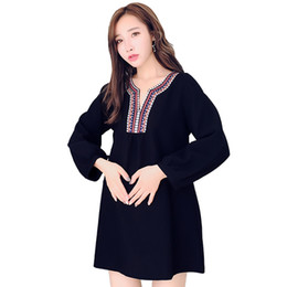 18f099abda8 2019 pregnant woman autumn and winter cotton long sleeve embroidery v-neck  long shirts vertical stripes loose maternity blouses