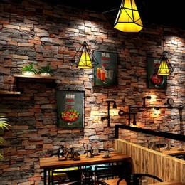 2019 cafe wallpaper Retro Nostalgie Backstein Tapete Cafe Bar Chinesisches Restaurant Bekleidungsgeschäft Kultur Stein Spezifikation 0,53 m * 10 m rabatt cafe wallpaper