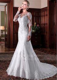 robes pakistanaises modernes Promotion Sheer Vintage manches longues de mariée sirène Robes de mariée 2020 Slim formelle Rétro personnalisée Robes de perles Robes De Mariage Plus Size