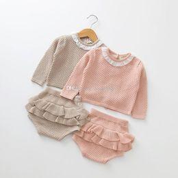 vestito del maglione del bambino Sconti Neonate abiti Newborn Knit Maglione top + ruffle Pantaloncini 2 pz / set 2019 primavera autunno boutique bambini Abbigliamento Set C5964
