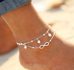 stainless steel sandals Promo Codes - High quality Lady Double 925 Sterling silver Plated Chain Ankle Anklet Bracelet Sexy Barefoot Sandal Beach Foot Jewelry Epacket free ship