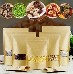 2019 bolsa de embalaje de nueces 14 Bolsas de plástico marrón de papel Kraft tamaño Comida Bolsa a prueba de humedad Cierre de cremallera con ventana transparente para alimentos secos Nueces Caramelo Bolsa de embalaje bolsa de embalaje de nueces baratos