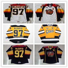 Желтые хоккейные майки онлайн-Custom Erie Otters Хоккей с шайбой 97 Коннор МакДэвид 9 Сшитый Райаном Орейли 19 Dylan Strome Любое число Имя Темно-синий Желтый Белый Трикотажные майки S-4XL