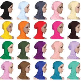 2019 gorras de mujeres musulmanas Las mujeres musulmanas cubren las bufandas interiores Hijab Mujer color sólido liso gorro bufanda bufanda 20 colores mixtos algodón mercerizado señoras gorras EM gorras de mujeres musulmanas baratos