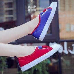 новые пароли Скидка Women's canvas flat shoes Korean students wild elastic band casual lazy shoes spring and autumn ladies a pedal