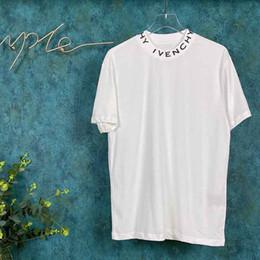 Listras brancas do preto dos homens camisas ocasionais on-line-Tripulação 19FW Mens Camisolas t-shirt carta colarinho stripe Outono Inverno stripe Muito confortável qualidade superior do pescoço preto branco