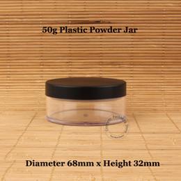 Pulverflaschensieb online-30pcs / Lot Großhandel 50g Plastik Loose Powder Glas mit Sichter 50 ml Flaschen-Kosmetik Sahnebehälter Black Matte Cap Makeup Compact