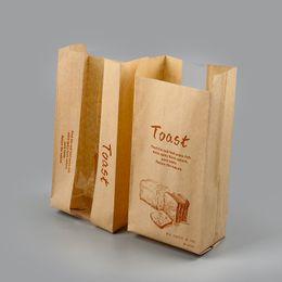 2019 sacos de papel janela clara À prova de óleo saco de brinde embalagem de alimentos tirar a embalagem de pão com janela clara comida saco de papel DHL frete grátis sacos de papel janela clara barato