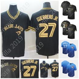 2019 Toronto 27 Vladimir Guerrero Jr. Jerseys Mens 100% Costurado Preto Ouro Desvanecer Blue Jays Jérseis De Beisebol S-XXXL Rápido Shopping de Fornecedores de jérseis azuis pretos de jay