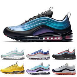 2019 buenos zapatos nuevos Nike Air Max 97 VM OG SE Tenis para hombre Zapatillas para correr Zapatillas para correr Iridiscentes Triples Blanco Negro Metálico Oro Astilla Bullet Zapatillas deportivas buenos zapatos nuevos baratos