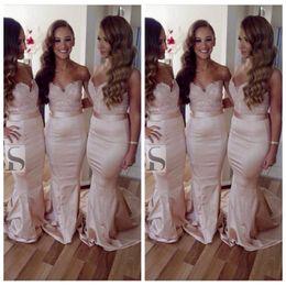 vestido de la dama de honor de la sirena del amor simple Rebajas 2019 Sweetheart Lace Appliques Mermaid Vestidos de damas de honor largos Delgados con cinta Vestidos De Honor Of Maid Vestidos de fiesta de invitados