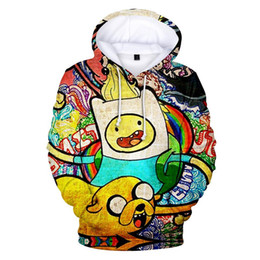 Sweat à capuche jaune hommes 4xl en Ligne-Harajuku Hot vente Adventure Time Sweat-shirts impression 3D sweat à capuche frais mode Cartoon capuche jaune pour hommes Kawaii Taille XXS-4XL
