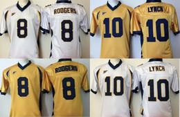 2019 logotipos gratuitos da faculdade Factory Outlet- NCAA Califórnia Golden Bears Roogers 8 Lynch 10 Futebol Da Faculdade Jersey Bordado logotipos, ordem da mistura, frete grátis desconto logotipos gratuitos da faculdade
