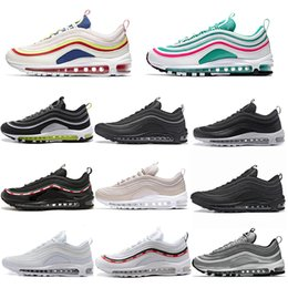 Canada Nike Air Max 97 97s chaussures casual de mode South Beach Japan Silver Bullet Invaincu Pack Triple Noir Blanc Rose Hommes Femmes taille 36-45 cheap bullet pack Offre