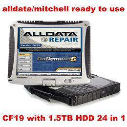 2019 hardbook portátil Toughbook CF19 CF-19 Laptop 1.5TB HDD WIN7 system 24in1 Auto Repair Software Alldata V10.53 + mitchell on demand 5 listo para usar hardbook portátil baratos