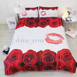 Комплекты постельных принадлежностей из красных роз онлайн-3pcs flowers bed set single queen super king size bedding sets duvet covers white fabric with floral red roses sheets