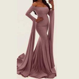 Maxi vestido de verano rosa online-Vestido de gasa de las mujeres del estilo del verano de la manera elegante vestido rosado del partido de señora Sexy Slim manga larga dividida vestidos maxi para robe femme