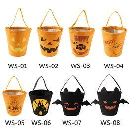 2019 cubos de dulces de halloween 8 estilos Bebé cesta de Halloween bolsa de lona cubo de dulces dibujos animados impresos decoración de fiesta accesorios bolsas calabaza niños bolsos de almacenamiento FFA2718-A rebajas cubos de dulces de halloween