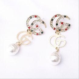 Pin dati online-S925 Orecchini con perno in argento con lettera G Orecchini con perla Designer famoso di lusso per gioielli Regali di nozze