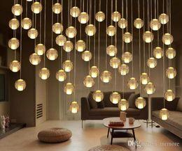 Luci soffitto g4 online-a disposizione Lampadari a sfera di cristallo LED 36head Lampada a sospensione per scale Duplex Hotel Hall Mall con lampade a LED G4 Soffitto a goccia fai da te Illuminazione