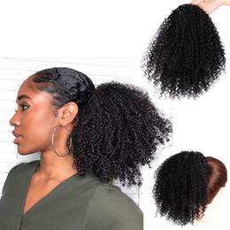 2019 парики для наращивания волос Инструменты для укладки волос Синтетические вьющиеся хвостики Afro Kinky Наращивание волос Drawstring хвостик Puff Парик meche cheveux a tresser скидка парики для наращивания волос