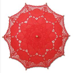 Guarda-sol de algodão on-line-Frete Grátis Lace Sun Umbrella Algodão Bordado Rendas Parasol Casamento Guarda-chuva Decorações Multi
