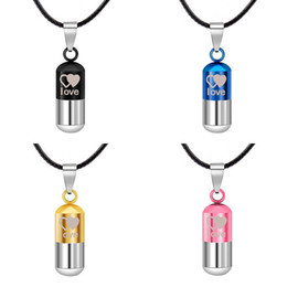pretty necklaces Promo Codes - Essential Oil Perfume Bottle Necklace Pretty Beautifully Pendant Couple Necklace Stainless Steel Jewelry Lover Gif Love Necklace