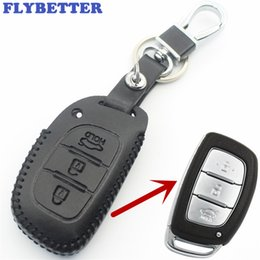 Hyundai smart car online-FLYBETTER Echtes Leder 3 Button Smart Key Fall Abdeckung Für Hyundai IX35 / Verna / Elantra Car Styling L1572