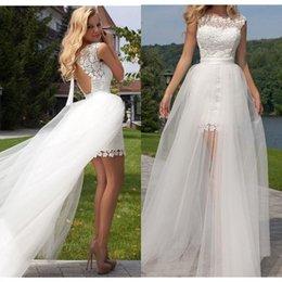 2020 Yeni Prenses Kılıf Gelinlik Dantel Aplike Ayrılabilir Tren Kolsuz Boho Backless Düğün Gelin Kıyafeti supplier wedding princess dresses brides nereden düğün prenses elbiseler gelinler tedarikçiler