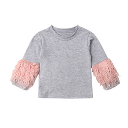 2912f178f 1-7Y Toddler Kids Baby Girls Sweatshirt Tops Fur Long Sleeve Pullover Grey  Cotton T-Shirts Tops Autumn Clothes 1-6Y
