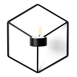 Canada 21cm Bougeoirs Nordic Style 3D Chandelier Géométrique En Métal Bougeoir Applique Correspondant Petit Bougie Chauffe-Plat Maison Ornements cheap geometric applique Offre