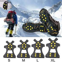 2019 zapatos de crampones de nieve 10 Postes de Acero hielo Tacos antideslizante nieve escalada en hielo de zapatos Spikes Grips Crampones grapas de Overshoes Escalada Pinza Inicio Jardín LJJA3289-2 rebajas zapatos de crampones de nieve