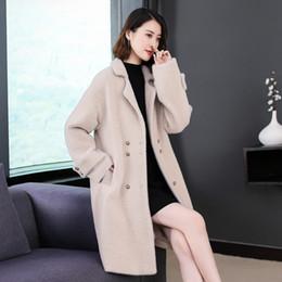 Manteau Femme Imitat Gold Mink Cashmere Langer Wintermantel Frauen 2018 Koreanische Version Fischgrät Reis Weißer behaarter Wollmantel von Fabrikanten