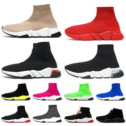 de encaje hasta mens Rebajas zapatillas zapatos balenciaga con cordones Speed ​​Trainer Zapatos casuales Triple Negro Blanco Rojo Azul Rosa Amarillo Of Dreams Sock Trainer