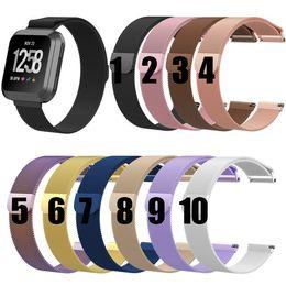 металлический фибровый браслет Скидка Fitbit Versa Milanese Loop Ремешок на запястье Замена ремешка для часов Fitbit Versa Магнитный металлический браслет из нержавеющей стали