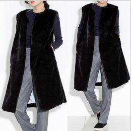 2020 chaleco largo de piel negra Mink 2019 Escudo de imitación de piel de las mujeres de invierno chaleco de piel de visón artificial chalecos chaquetas largas Hembra Negro falso Gilet Q975 chaleco largo de piel negra baratos