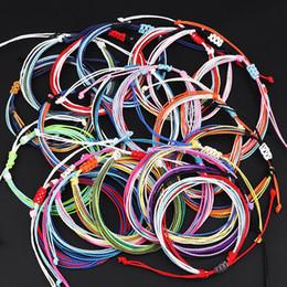 Pulsera encerada online-201910 Cera de rosca pulseras tejidas hechas a mano de múltiples capas tejida pulsera de la amistad de cera cuerda trenzada brazalete ajustable Mujeres H994F joyería