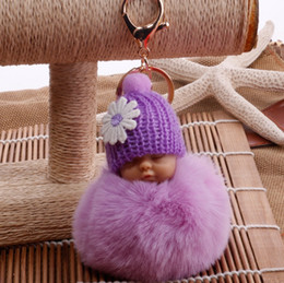 2020 niedliche puppentaschen für mädchen Niedlichen Blumenhut schlafen baby doll schlüsselbund plüsch puppe spielzeug kinder mädchen geschenk faux kaninchenfell ball tasche dekoration anhänger rabatt niedliche puppentaschen für mädchen