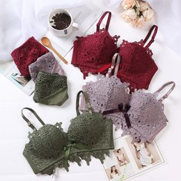 82e4e5e948 bamboo charcoal cotton push up girls gather underwear sets retro style bra  and panty set floral women sexy lingerie intimates