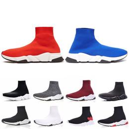 Canada Balenciaga Speed Trainer 2019 Designer Vitesse Entraîneur Hommes Femmes Chaussettes Haut Chaussures Noir Bleu Rouge Solide De luxe mode bottes formateurs Coureur baskets Offre