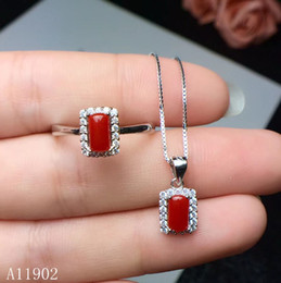 e788fc39abfa Joyas KJJEAXCMY 925 plata esterlina con incrustaciones de piedras preciosas  naturales coral rojo para mujer collar colgante anillo conjunto soporte ...