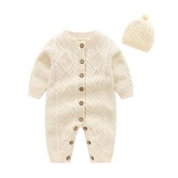 2019 tejer sombreros redondos Ropa de diseñador para niños bebés Chicas de cuello redondo mameluco de punto de manga larga Cardigan Romper + sombrero infantil ropa mameluco tejer sombreros redondos baratos