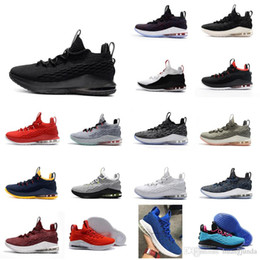 be9ffa07c11 Cheap Mens lebron 15 low basketball shoes Multi color Yellow Gold Black  White wolf grey youth kids sneakers tennis with box for sale