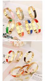 nuevo tipo de brazaletes Rebajas Diseñador de la Mujer H Brazaletes de Lujo de Esmalte de Acero Inoxidable Pulseras Brazalete H Letra Hebilla Pulseras de Alta calidad