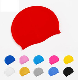 Защита плавательного уха онлайн-Силиконовые Водонепроницаемые Плавательные Caps защиты слуха Длинные волосы Спорт плавать бассейн Hat эластичная шапочка для плавания плавание волосы уши защитить шляпа шапки