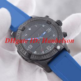 Homens assistir dual tempo aço on-line-Novo relógio dos homens de esportes VB5510H2 Quartz eletrônico dual fuso horário de exibição de alta qualidade Preto caixa de aço inoxidável Azul pulseira de borracha WristWath