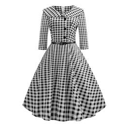 Herbst Plaid Vintage Kleid 1950er Jahre Frauen eine Linie Peter Pan Kragen Patchwork Fashion Brand elegante weibliche Rockabilly Midi Kleider von Fabrikanten