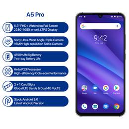 2019 telefone tri sim UMIDIGI A5 PRO Versão Global Android 9.0 Octa Núcleo 4 GB 32 GB 6.3 'FHD + 16MP Câmera Tripla 4150 mAh carga Rápida Celular Smartphone